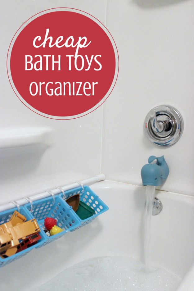 Cool DIY Ideas With Tension Rods - Cheap Bath Toys Organizer - Quick Do It Yourself Projects, Easy Ways To Save Money, Hacks You Can Do With A Tension Rod - Window Treatments, Small Spaces, Apartments, Storage