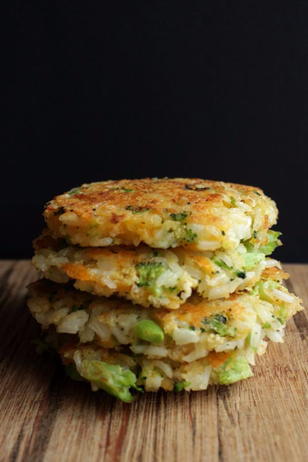 Best Rice Recipes - Cheddar Broccoli Rice Patties - Easy Ideas for Quick Meals Made From a Bag of Rice - Healthy Recipes With Brown, White and Arborio Rice - Cheesy, Fried, Asian, Mexican Flavored Dinner Dishes and Side Dishes - DIY Projects and Crafts by DIY JOY
