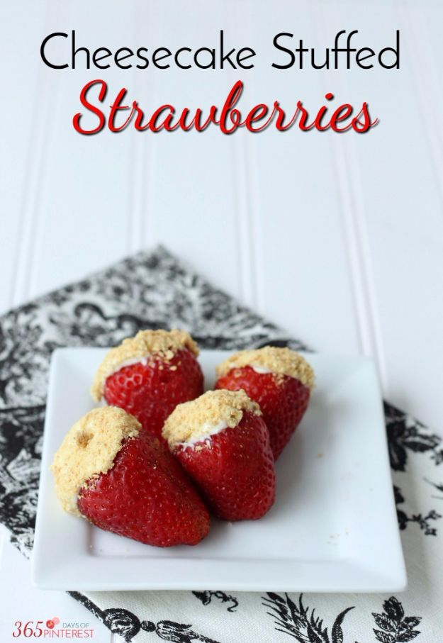 Easy Snacks You Can Make In Minutes - Cheesecake Stuffed Strawberries - Quick Recipes and Tricks for Making After Workout and After School Snack - Fast Ideas for Instant Small Meals and Treats - No Bake, Microwave and Simple Prep Makes Snacking Fun http://diyjoy.com/easy-snacks- recipes