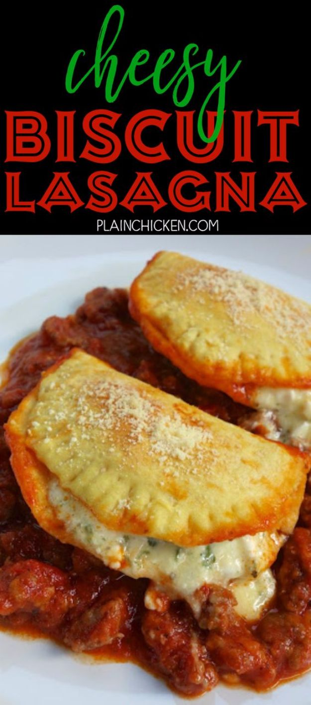 Best Canned Biscuit Recipes - Cheesy Biscuit Lasagna - Cool DIY Recipe Ideas You Can Make With A Can of Biscuits - Easy Breakfast, Lunch, Dinner and Desserts You Can Make From Pillsbury Pull Apart Biscuits - Garlic, Sour Cream, Ground Beef, Sweet and Savory, Ideas with Cheese - Delicious Meals on A Budget With Step by Step Tutorials