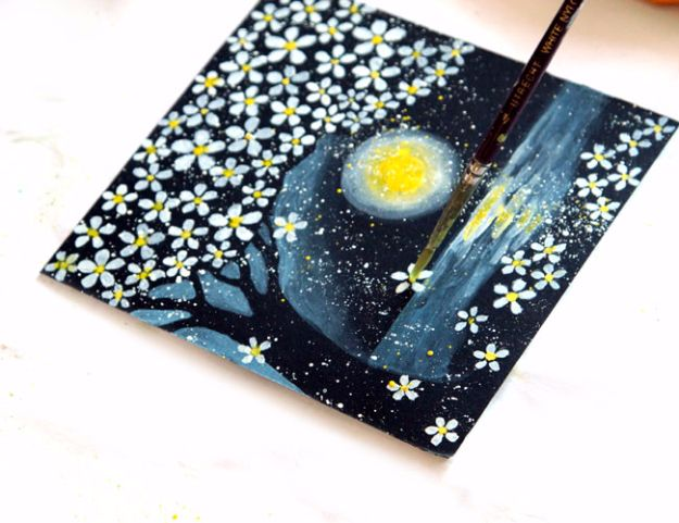 DIY Canvas Painting Ideas - Cherry Blossoms In Moonlight - Cool and Easy Wall Art Ideas You Can Make On A Budget #painting #diyart #diygifts