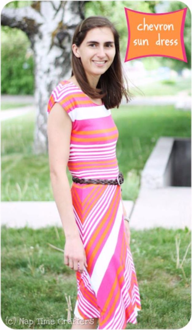 DIY Dresses to Sew for Summer - Chevron Sun Dress - Best Free Patterns For Dress Ideas - Easy and Cheap Clothes to Make for Women and Teens - Step by Step Sewing Projects - Short, Summer, Winter, Fall, Inexpensive DIY Fashion