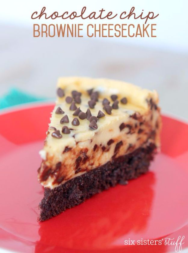 Best Cheesecake Recipes - Chocolate Chip Brownie Cheesecake - Easy and Quick Recipe Ideas for Cheesecakes and Desserts - Chocolate, Simple Plain Classic, New York, Mini, Oreo, Lemon, Raspberry and Quick No Bake - Step by Step Instructions and Tutorials for Yummy Dessert - DIY Projects and Crafts by DIY JOY http://diyjoy.com/best-cheesecake-recipes