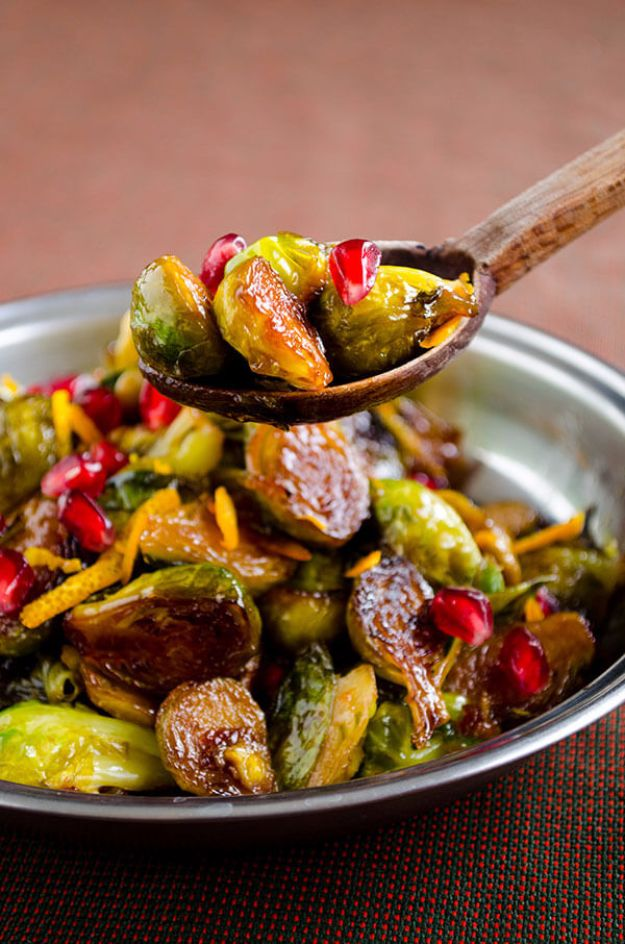 Best Brussel Sprout Recipes - Citrus Caramelized Brussels Sprouts - Easy and Quick Delicious Ideas for Making Brussel Sprouts With Bacon, Roasted, Creamy, Healthy, Baked, Sauteed, Crockpot, Grilled, Shredded and Salad Recipe Ideas #recipes