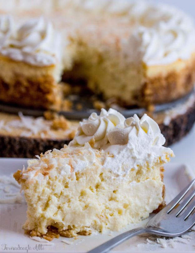 Best Cheesecake Recipes - Coconut Cream Cheesecake - Easy and Quick Recipe Ideas for Cheesecakes and Desserts - Chocolate, Simple Plain Classic, New York, Mini, Oreo, Lemon, Raspberry and Quick No Bake - Step by Step Instructions and Tutorials for Yummy Dessert