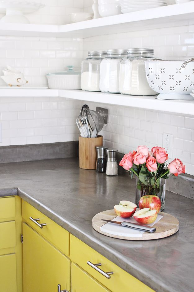 DIY Home Improvement On A Budget - Concrete Countertop DIY - Easy and Cheap Do It Yourself Tutorials for Updating and Renovating Your House - Home Decor Tips and Tricks, Remodeling and Decorating Hacks - DIY Projects and Crafts by DIY JOY http://diyjoy.com/diy-home-improvement-ideas-budget