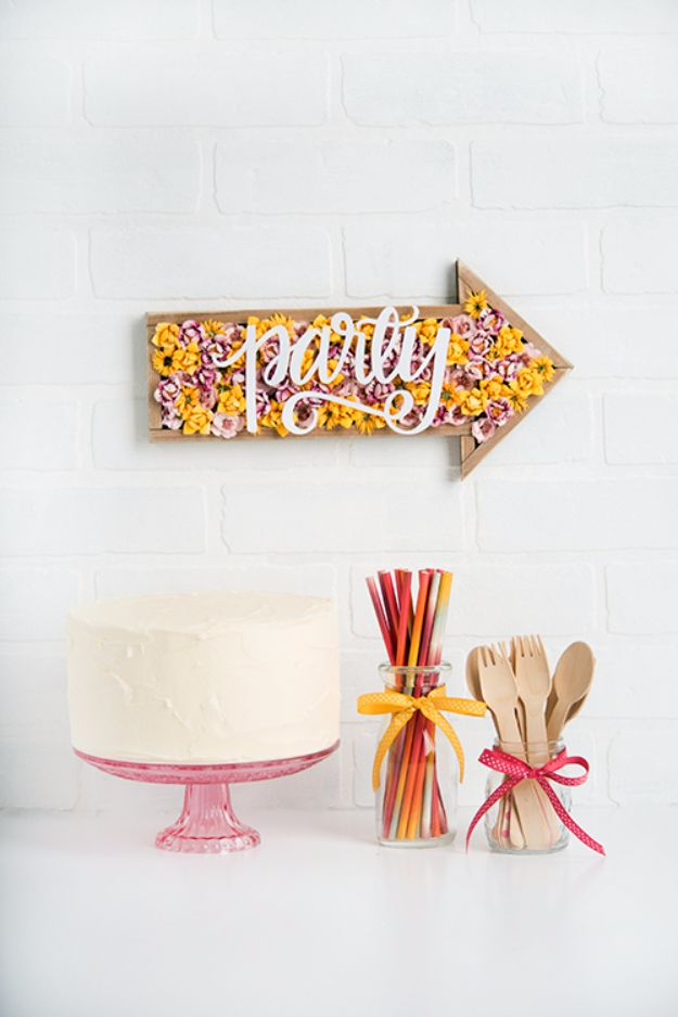 DIY Wall Letters and Word Signs - Cool Party Sign - Initials Wall Art for Creative Home Decor Ideas - Cool Architectural Letter Projects and Wall Art Tutorials for Living Room Decor, Bedroom Ideas. Girl or Boy Nursery. Paint, Glitter, String Art, Easy Cardboard and Rustic Wooden Ideas - DIY Projects and Crafts by DIY JOY http://diyjoy.com/diy-letter-word-signs