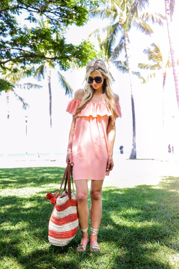 DIY Dresses to Sew for Summer - Coral Off The Sleeve Summer Dress - Best Free Patterns For Dress Ideas - Easy and Cheap Clothes to Make for Women and Teens - Step by Step Sewing Projects - Short, Summer, Winter, Fall, Inexpensive DIY Fashion http://diyjoy.com/sewing-dresses-patterns-summer