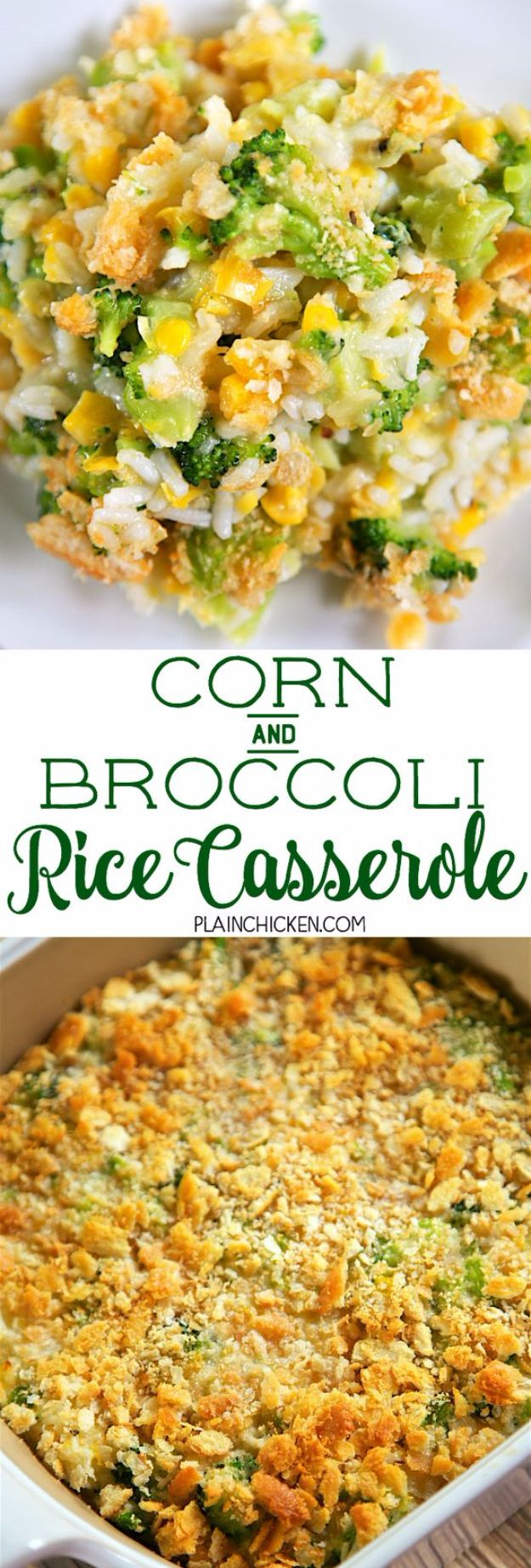 Best Broccoli Recipes - Corn And Broccoli Rice Casserole - Recipe Ideas for Roasted, Steamed, Fresh or Frozen, Healthy, Cheesy, Soup, Salad, Casseroles and Side Dish Vegetables Made With Broccoli. Shrimp, Chicken, Pasta and Paleo Recipes. Easy Dinner, Lunch and Healthy Snacks for Kids and Adults - Homemade Food and Crafts by DIY JOY http://diyjoy.com/best-broccoli-recipes