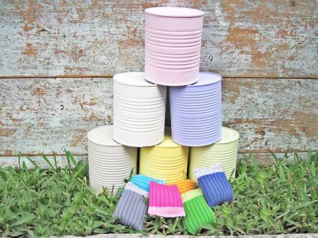 Best DIY Backyard Games - Crazy Cans - Cool DIY Yard Game Ideas for Adults, Teens and Kids - Easy Tutorials for Cornhole, Washers, Jenga, Tic Tac Toe and Horseshoes - Cool Projects for Outdoor Parties and Summer Family Fun Outside http://diyjoy.com/diy-backyard-games