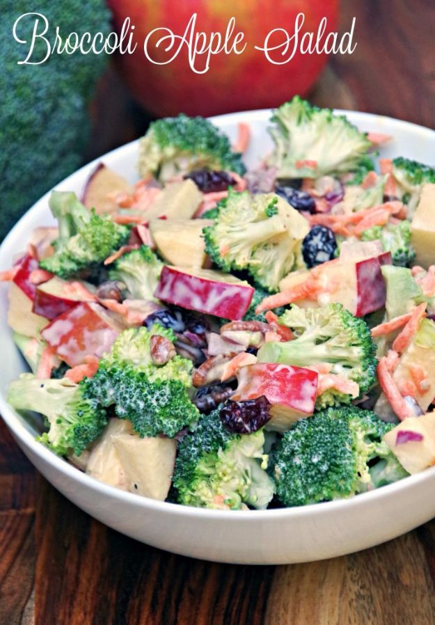 Best Dinner Salad Recipes - Creamy Broccoli Apple Salad - Easy Salads to Make for Quick and Healthy Dinners - Healthy Chicken, Egg, Vegetarian, Steak and Shrimp Salad Ideas - Summer Side Dishes, Hearty Filling Meals, and Low Carb Options http://diyjoy.com/dinner-salad-recipes