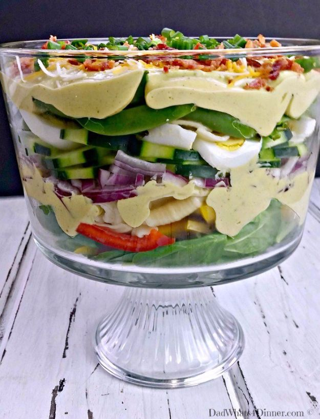 Best Easter Dinner Recipes - Creamy Deviled Egg Layered Pasta Salad - Easy Recipe Ideas for Easter Dinners and Holiday Meals for Families - Side Dishes, Slow Cooker Recipe Tutorials, Main Courses, Traditional Meat, Vegetable and Dessert Ideas - Desserts, Pies, Cakes, Ham and Beef, Lamb - DIY Projects and Crafts by DIY JOY http://diyjoy.com/easter-dinner-recipes
