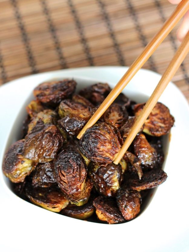 Best Brussel Sprout Recipes - Crispy Asian Brussels Sprouts - Easy and Quick Delicious Ideas for Making Brussel Sprouts With Bacon, Roasted, Creamy, Healthy, Baked, Sauteed, Crockpot, Grilled, Shredded and Salad Recipe Ideas #recipes