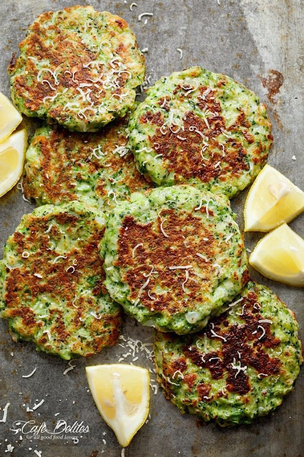Best Broccoli Recipes - Crispy Broccoli Parmesan Fritters - Recipe Ideas for Roasted, Steamed, Fresh or Frozen, Healthy, Cheesy, Soup, Salad, Casseroles and Side Dish Vegetables Made With Broccoli. Shrimp, Chicken, Pasta and Paleo Recipes. Easy Dinner, healthy vegetable recipes