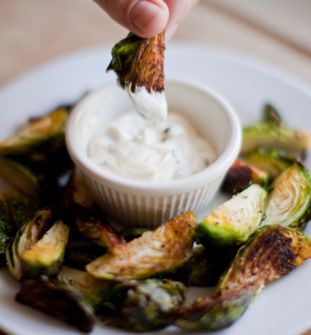 Best Brussel Sprout Recipes - Crispy Brussels Sprouts With Garlic Aioli - Easy and Quick Delicious Ideas for Making Brussel Sprouts With Bacon, Roasted, Creamy, Healthy, Baked, Sauteed, Crockpot, Grilled, Shredded and Salad Recipe Ideas #recipes