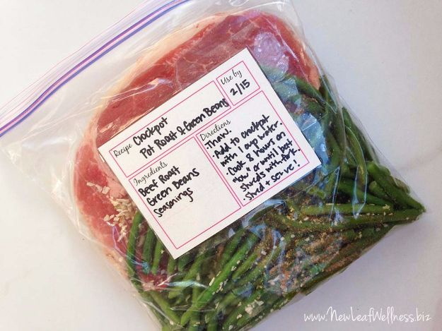 Healthy Crockpot Recipes to Make and Freeze Ahead - Crockpot Pot Roast With Green Beans - Easy and Quick Dinners, Soups, Sides You Make Put In The Freezer for Simple Last Minute Cooking - Low Fat Chicken, beef stew recipe