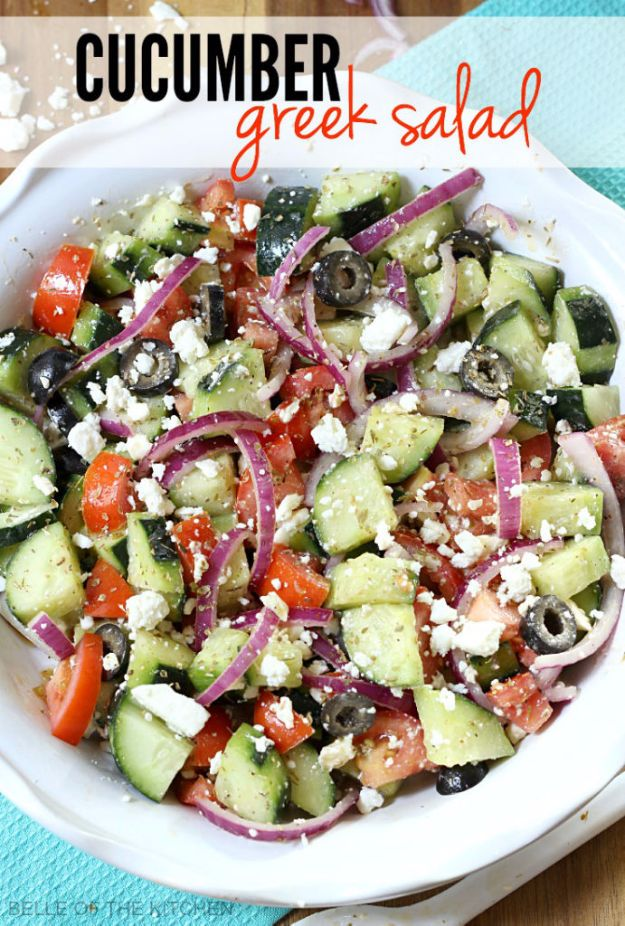 Best Dinner Salad Recipes - Cucumber Greek Salad - Easy Salads to Make for Quick and Healthy Dinners - Healthy Chicken, Egg, Vegetarian, Steak and Shrimp Salad Ideas - Summer Side Dishes, Hearty Filling Meals, and Low Carb Options #saladrecipes #dinnerideas #salads #healthyrecipes
