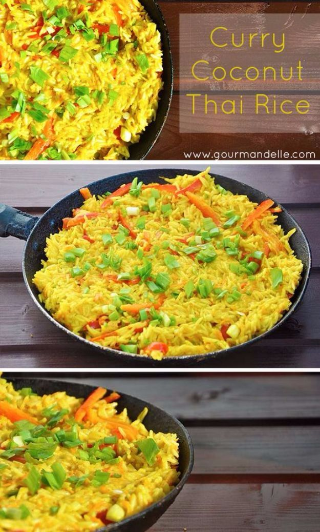 Best Rice Recipes - Curry Coconut Thai Rice - Easy Ideas for Quick Meals Made From a Bag of Rice - Healthy Recipes With Brown, White and Arborio Rice - Cheesy, Fried, Asian, Mexican Flavored Dinner Dishes and Side Dishes - DIY Projects and Crafts by DIY JOY http://diyjoy.com/best-rice-recipes