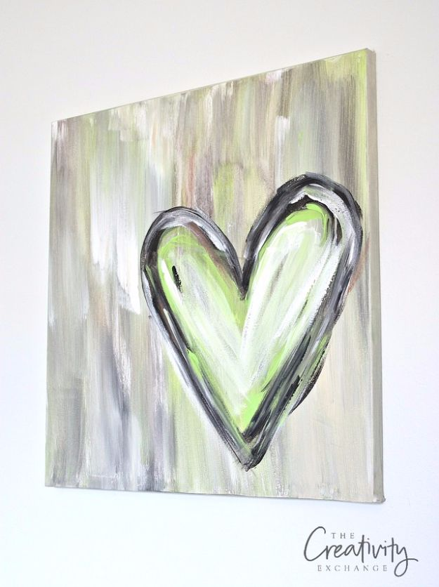 DIY Canvas Painting Ideas - DIY Abstract Heart Painting - Cool and Easy Wall Art Ideas You Can Make On A Budget #painting #diyart #diygifts