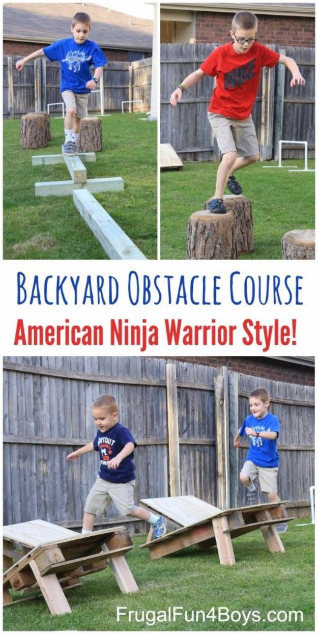 Best DIY Backyard Games - DIY American Ninja Warrior Backyard Obstacle Course - Cool DIY Yard Game Ideas for Adults, Teens and Kids - Easy Tutorials for Cornhole, Washers, Jenga, Tic Tac Toe and Horseshoes - Cool Projects for Outdoor Parties and Summer Family Fun Outside #diy #backyard #kids #games