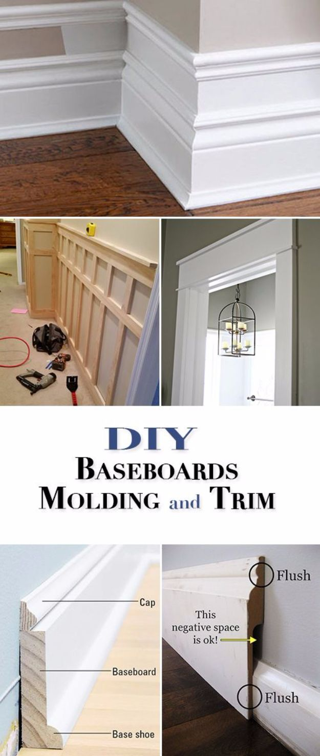 DIY Home Improvement On A Budget - DIY Baseboards, Molding and Trim - Easy and Cheap Do It Yourself Tutorials for Updating and Renovating Your House - Home Decor Tips and Tricks, Remodeling and Decorating Hacks - DIY Projects and Crafts by DIY JOY #diy