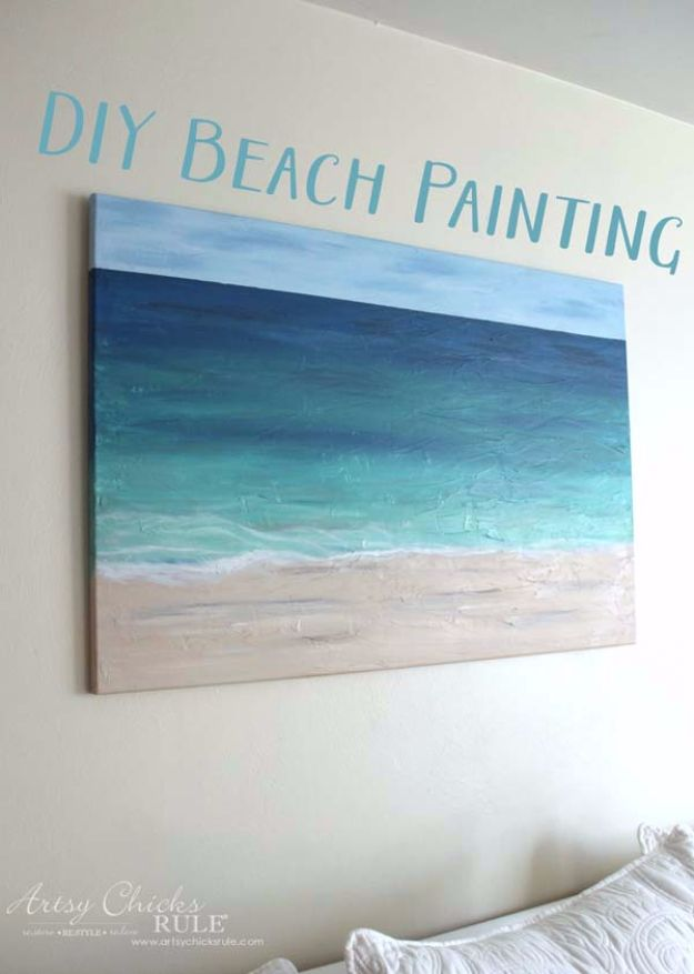 incredible Easy Canvas Painting Ideas Part - 5: DIY Canvas Painting Ideas - DIY Beach Painting - Cool and Easy Wall Art  Ideas You