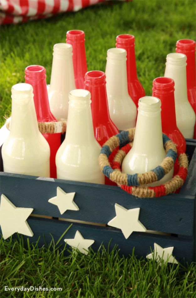 Best DIY Backyard Games - DIY Bottle Ring Toss - Cool DIY Yard Game Ideas for Adults, Teens and Kids - Easy Tutorials for Cornhole, Washers, Jenga, Tic Tac Toe and Horseshoes - Cool Projects for Outdoor Parties and Summer Family Fun Outside #diy #backyard #kids #games
