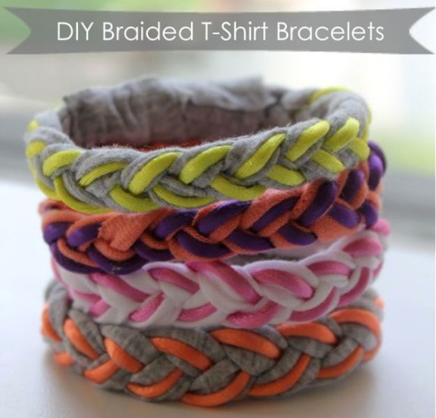 DIY Mothers Day Gift Ideas - DIY Braided T-Shirt Bracelets - Homemade Gifts for Moms - Crafts and Do It Yourself Home Decor, Accessories and Fashion To Make For Mom - Mothers Love Handmade Presents on Mother's Day - DIY Projects and Crafts by DIY JOY http://diyjoy.com/diy-mothers-day-gifts
