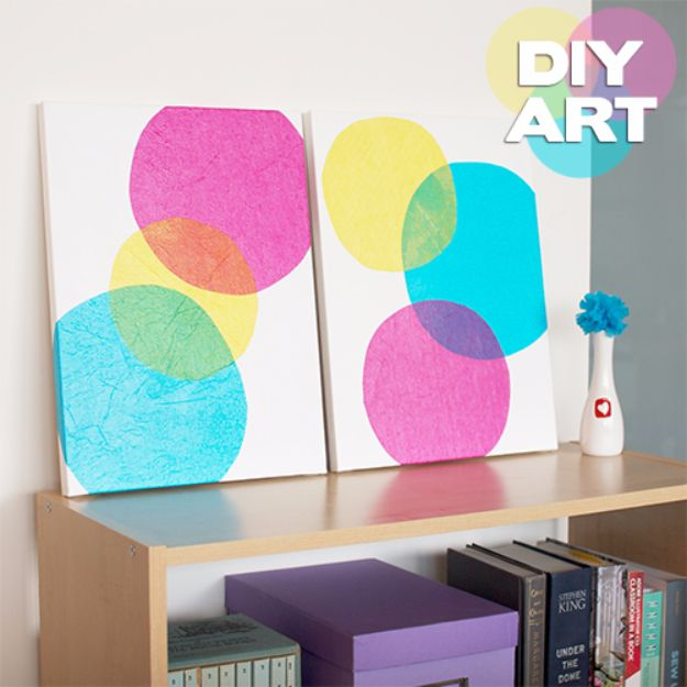DIY Canvas Painting Ideas - DIY Bubbles Art Painting - Cool and Easy Wall Art Ideas You Can Make On A Budget - Creative Arts and Crafts Ideas for Adults and Teens - Awesome Art for Living Room, Bedroom, Dorm and Apartment Decorating http://diyjoy.com/diy-canvas-painting