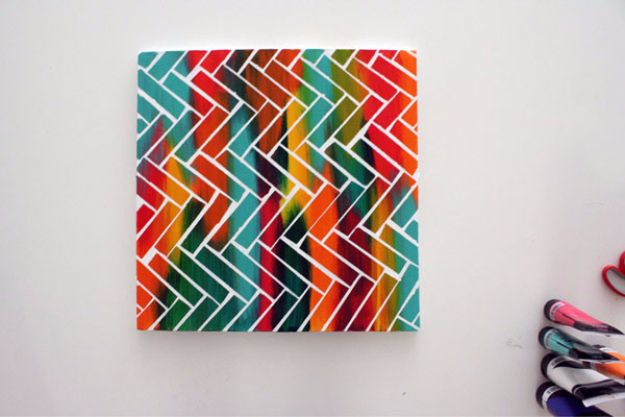 DIY Canvas Painting Ideas - DIY Canvas Painting With Scotch Tape - Cool and Easy Wall Art Ideas You Can Make On A Budget #painting #diyart #diygifts