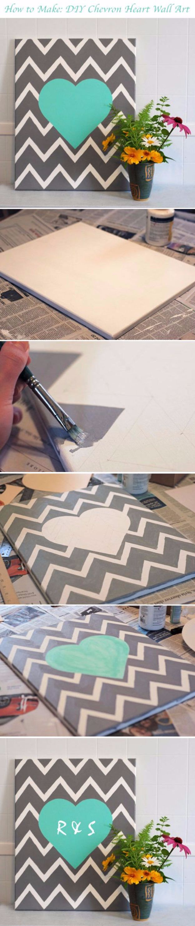DIY Canvas Painting Ideas - DIY Chevron Heart - Cool and Easy Wall Art Ideas You Can Make On A Budget #painting #diyart #diygifts