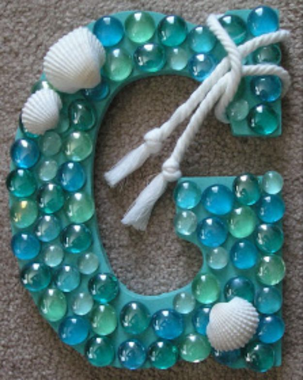 DIY Wall Letters and Word Signs - DIY Coastal Letter - Initials Wall Art for Creative Home Decor Ideas - Cool Architectural Letter Projects and Wall Art Tutorials for Living Room Decor, Bedroom Ideas. Girl or Boy Nursery. Paint, Glitter, String Art, Easy Cardboard and Rustic Wooden Ideas - DIY Projects and Crafts by DIY JOY #diysigns #diyideas #diyhomedecor