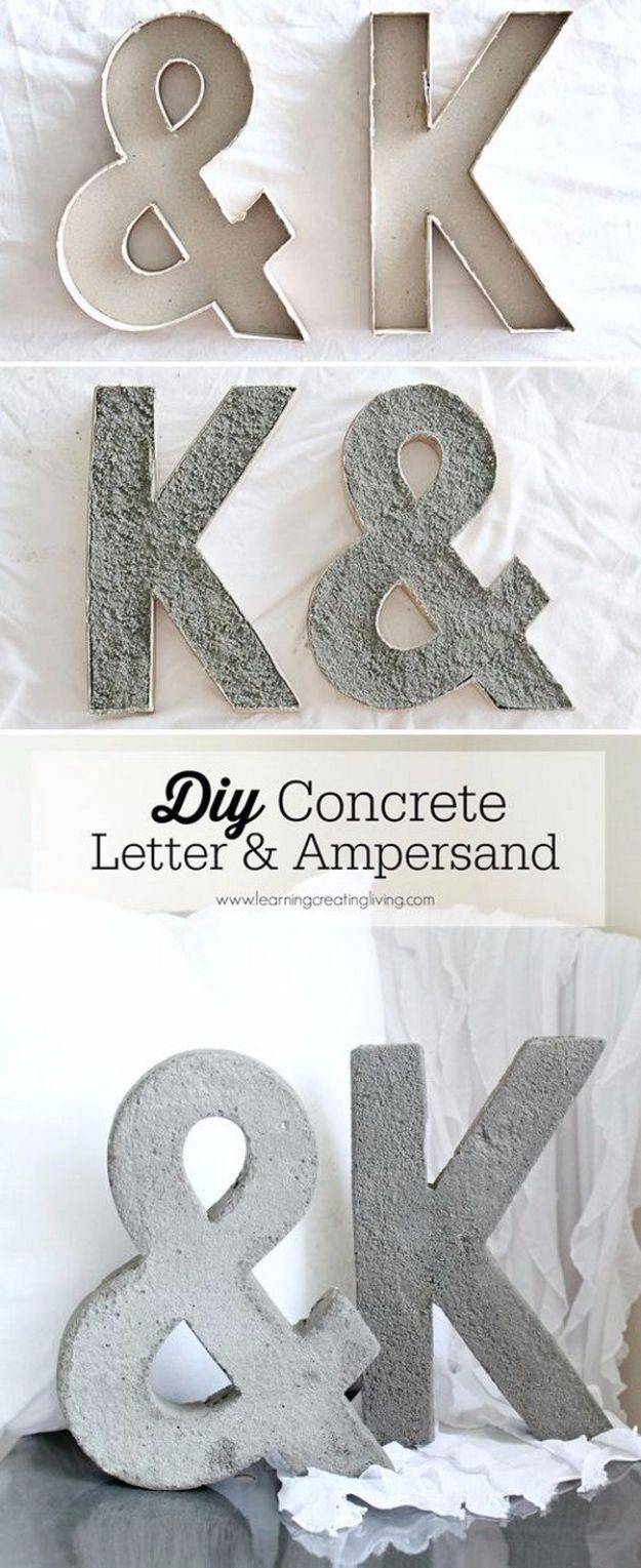 DIY Wall Letters and Word Signs - DIY Concrete Letter And Ampersand - Initials Wall Art for Creative Home Decor Ideas - Cool Architectural Letter Projects and Wall Art Tutorials for Living Room Decor, Bedroom Ideas. Girl or Boy Nursery. Paint, Glitter, String Art, Easy Cardboard and Rustic Wooden Ideas - DIY Projects and Crafts by DIY JOY #diysigns #diyideas #diyhomedecor