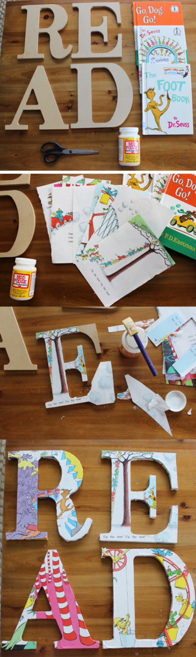 DIY Wall Letters and Word Signs - DIY Decoupage Dr. Seuss Read Sign for Children's Book Nook - Initials Wall Art for Creative Home Decor Ideas - Cool Architectural Letter Projects and Wall Art Tutorials for Living Room Decor, Bedroom Ideas. Girl or Boy Nursery. Paint, Glitter, String Art, Easy Cardboard and Rustic Wooden Ideas - DIY Projects and Crafts by DIY JOY #diysigns #diyideas #diyhomedecor