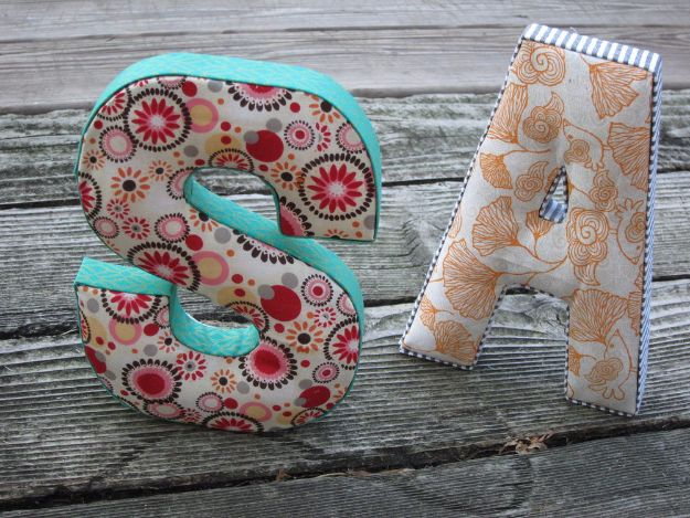 DIY Wall Letters and Word Signs - DIY Fabric Letters - Initials Wall Art for Creative Home Decor Ideas - Cool Architectural Letter Projects and Wall Art Tutorials for Living Room Decor, Bedroom Ideas. Girl or Boy Nursery. Paint, Glitter, String Art, Easy Cardboard and Rustic Wooden Ideas - DIY Projects and Crafts by DIY JOY #diysigns #diyideas #diyhomedecor