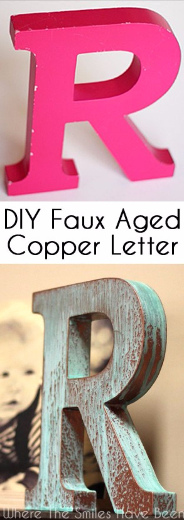 DIY Wall Letters and Word Signs - DIY Faux Copper Letter Aged with Blue Patina - Initials Wall Art for Creative Home Decor Ideas - Cool Architectural Letter Projects and Wall Art Tutorials for Living Room Decor, Bedroom Ideas. Girl or Boy Nursery. Paint, Glitter, String Art, Easy Cardboard and Rustic Wooden Ideas - DIY Projects and Crafts by DIY JOY #diysigns #diyideas #diyhomedecor