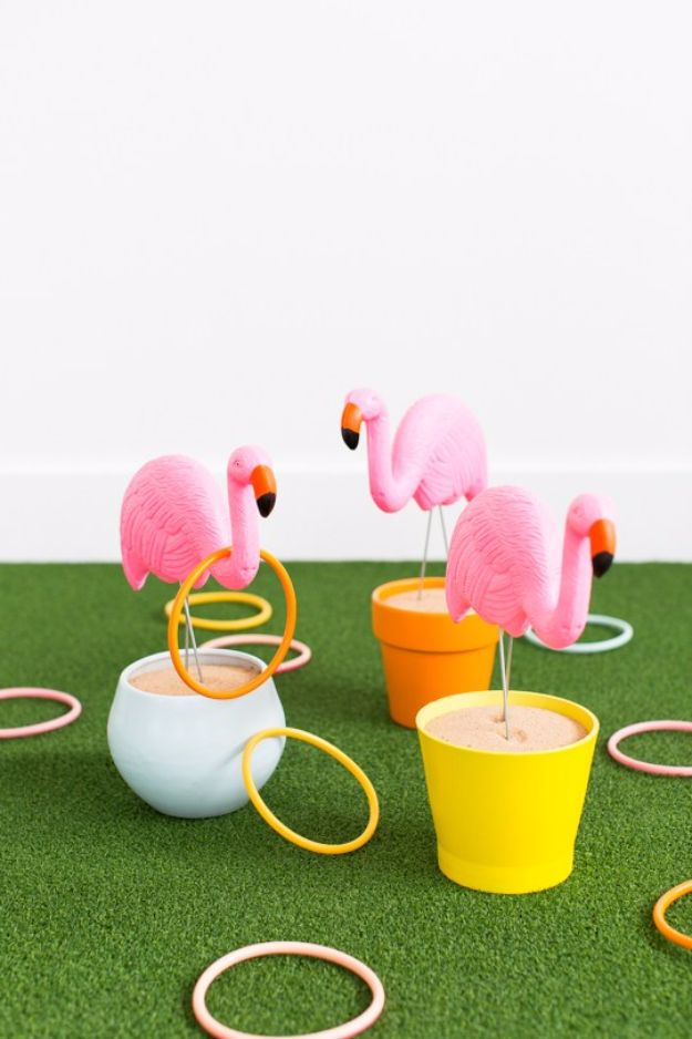 Best DIY Backyard Games - DIY Flamingo Ring Toss Yard Game - Cool DIY Yard Game Ideas for Adults, Teens and Kids - Easy Tutorials for Cornhole, Washers, Jenga, Tic Tac Toe and Horseshoes - Cool Projects for Outdoor Parties and Summer Family Fun Outside #diy #backyard #kids #games