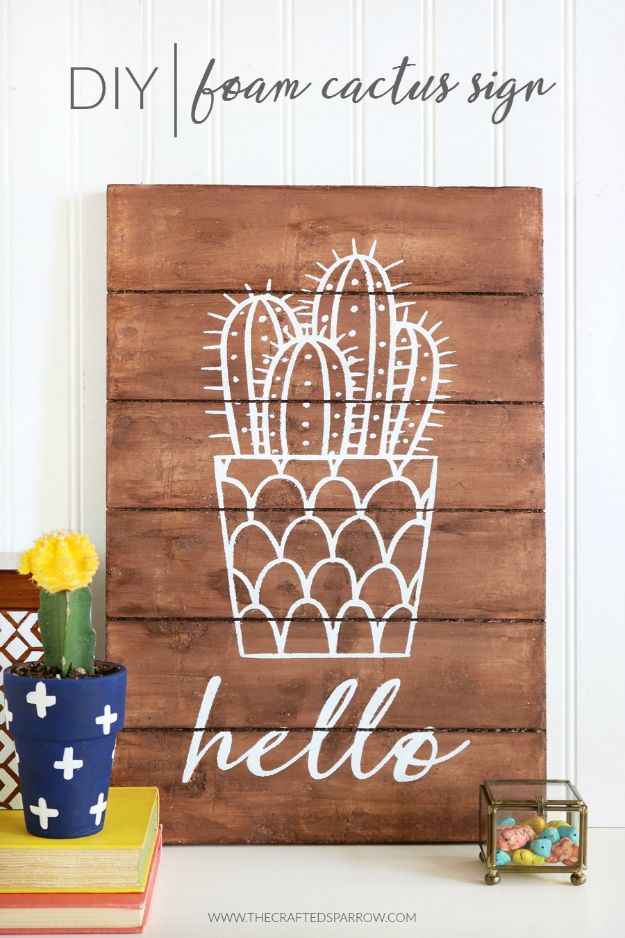 DIY Wall Letters and Word Signs - DIY Foam Cactus Sign - Initials Wall Art for Creative Home Decor Ideas - Cool Architectural Letter Projects and Wall Art Tutorials for Living Room Decor, Bedroom Ideas. Girl or Boy Nursery. Paint, Glitter, String Art, Easy Cardboard and Rustic Wooden Ideas - DIY Projects and Crafts by DIY JOY #diysigns #diyideas #diyhomedecor