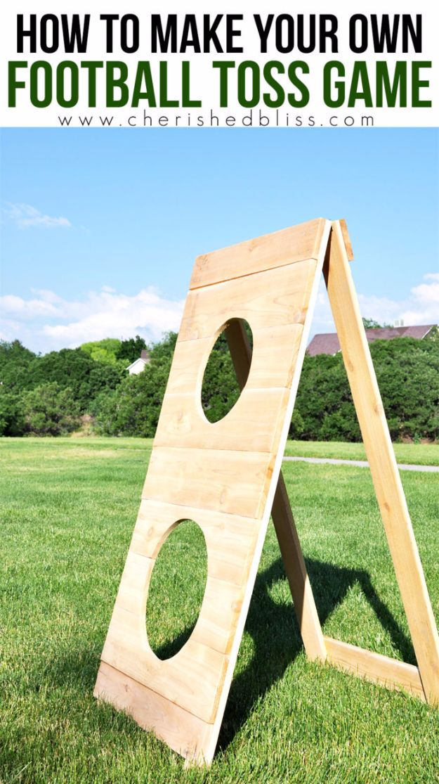Cool DIY Backyard Games - DIY Football Toss Outdoor Game - Cool DIY Yard Game Ideas for Adults, Teens and Kids - Easy Tutorials for Cornhole, Washers, Jenga, Tic Tac Toe and Horseshoes - Cool Projects for Outdoor Parties and Summer Family Fun Outside #diy #backyard #kids #games