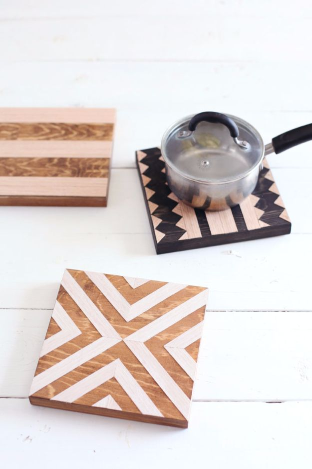 DIY Mothers Day Gift Ideas - DIY Geometric Wood Trivets - Homemade Gifts for Moms - Crafts and Do It Yourself Home Decor, Accessories and Fashion To Make For Mom - Mothers Love Handmade Presents on Mother's Day - DIY Projects and Crafts by DIY JOY http://diyjoy.com/diy-mothers-day-gifts