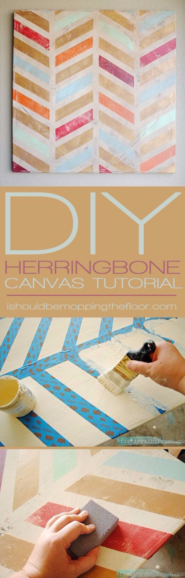 DIY Canvas Painting Ideas - DIY Herringbone Canvas Art - Cool and Easy Wall Art Ideas You Can Make On A Budget #painting #diyart #diygifts