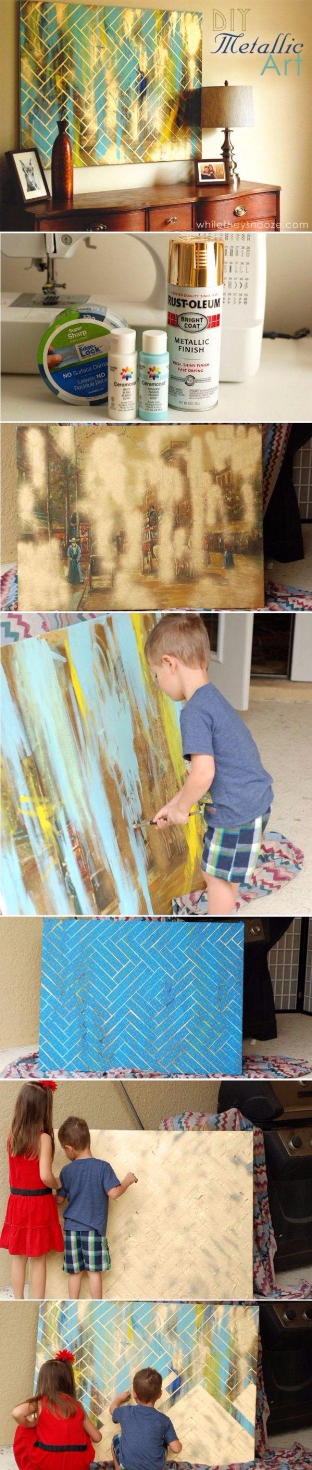 DIY Canvas Painting Ideas - DIY Herringbone Metallic Artwork - Cool and Easy Wall Art Ideas You Can Make On A Budget #painting #diyart #diygifts