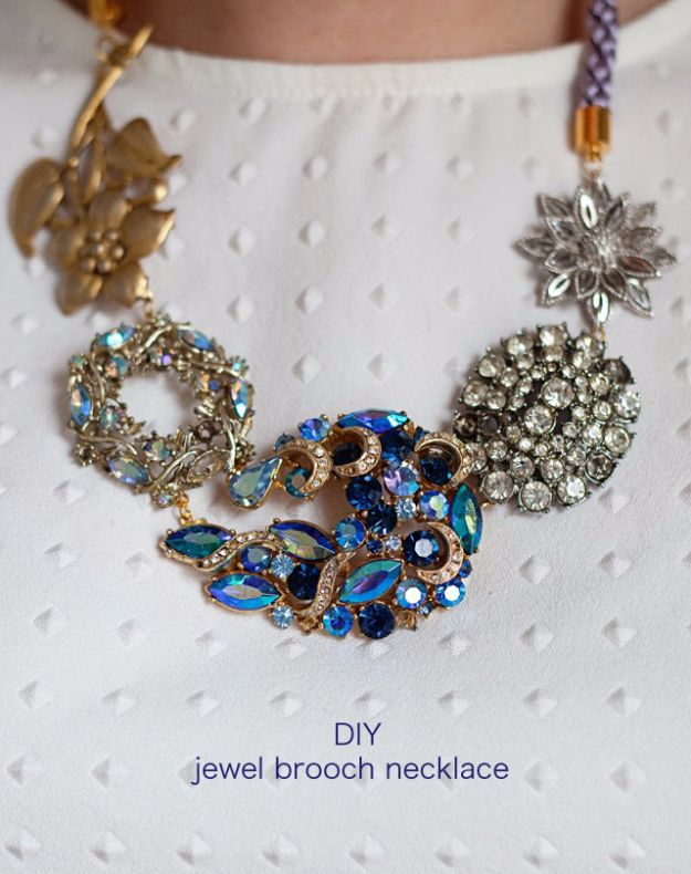 DIY Necklace Ideas - DIY Jewel Brooch Necklace - Easy Handmade Necklaces with Step by Step Tutorials - Pendant, Beads, Statement, Choker, Layered Boho, Chain and Simple Looks - Creative Jewlery Making Ideas for Women and Teens, Girls - Crafts and Cool Fashion Ideas for Women, Teens and Teenagers #necklaces #diyjewelry #jewelrymaking #teencrafts