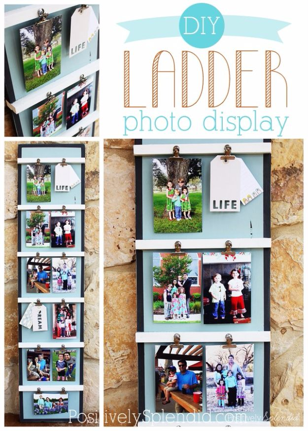 Tips and Tricks for Hanging Photos and Frames - DIY Ladder Photo Display - Step By Step Tutorials and Easy DIY Home Decor Projects for Decorating Walls - Cool Wall Art Ideas for Bedroom, Living Room, Gallery Walls - Creative and Cheap Ideas for Displaying Photos and Prints - DIY Projects and Crafts by DIY JOY #diydecor #decoratingideas