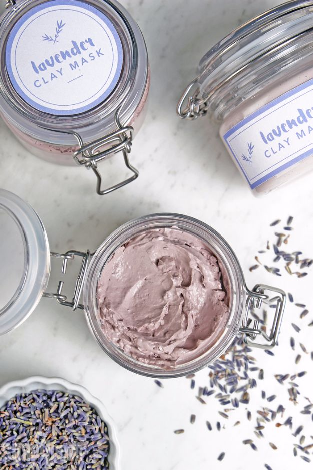 DIY Lavender Recipes and Project Ideas - DIY Lavender Clay Face Mask - Food, Beauty, Baking Tutorials, Desserts and Drinks Made With Fresh and Dried Lavender - Savory Lavender Recipe Ideas, Healthy and Vegan #lavender #diy