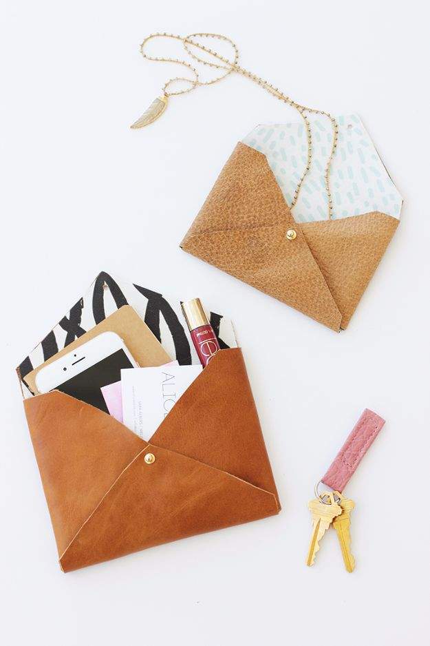 DIY Mothers Day Gift Ideas - DIY Leather Envelope Clutch - Homemade Gifts for Moms - Crafts and Do It Yourself Home Decor, Accessories and Fashion To Make For Mom - Mothers Love Handmade Presents on Mother's Day - DIY Projects and Crafts by DIY JOY http://diyjoy.com/diy-mothers-day-gifts