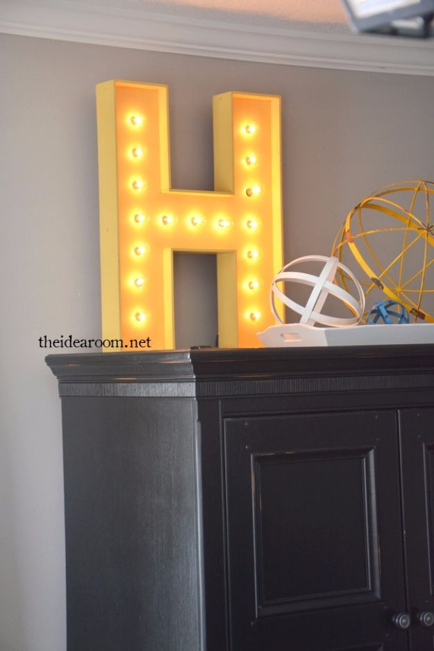 DIY Wall Letters and Word Signs - DIY Lighted Sign - Initials Wall Art for Creative Home Decor Ideas - Cool Architectural Letter Projects and Wall Art Tutorials for Living Room Decor, Bedroom Ideas. Girl or Boy Nursery. Paint, Glitter, String Art, Easy Cardboard and Rustic Wooden Ideas - DIY Projects and Crafts by DIY JOY http://diyjoy.com/diy-letter-word-signs