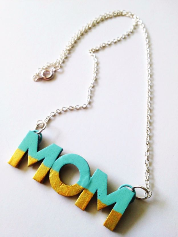 DIY Mothers Day Gift Ideas - DIY MOM Necklace - Homemade Gifts for Moms - Crafts and Do It Yourself Home Decor, Accessories and Fashion To Make For Mom - Mothers Love Handmade Presents on Mother's Day - DIY Projects and Crafts by DIY JOY http://diyjoy.com/diy-mothers-day-gifts