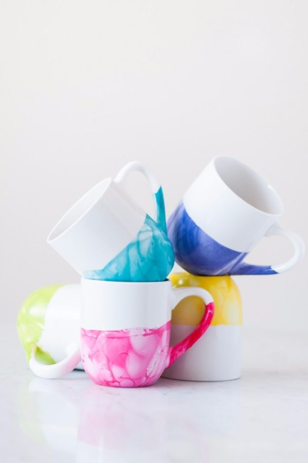 DIY Mothers Day Gift Ideas - DIY Marble Dipped Mugs - Homemade Gifts for Moms - Crafts and Do It Yourself Home Decor, Accessories and Fashion To Make For Mom - Mothers Love Handmade Presents on Mother's Day - DIY Projects and Crafts by DIY JOY http://diyjoy.com/diy-mothers-day-gifts