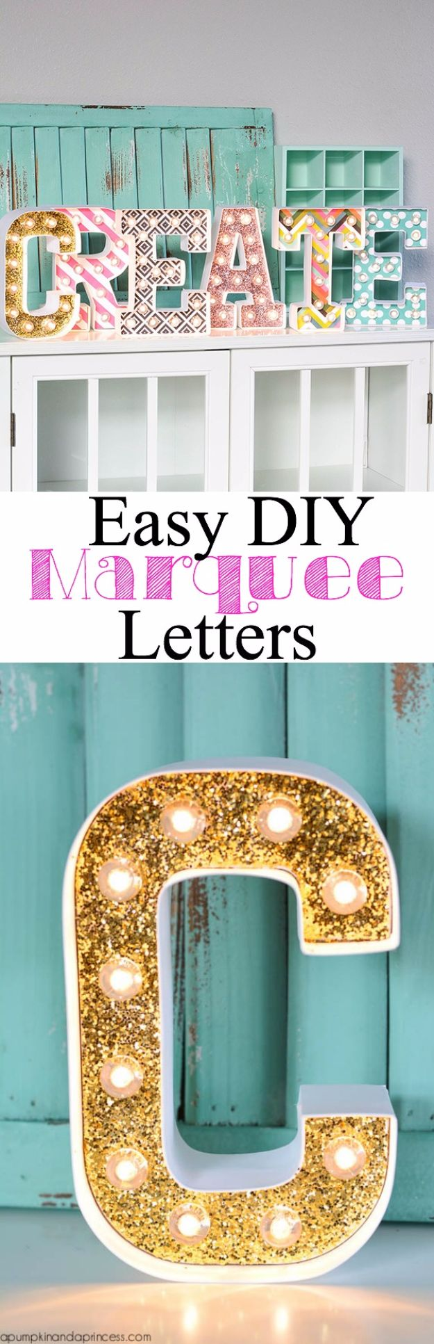 DIY Wall Letters and Word Signs - DIY Marquee Letters - Initials Wall Art for Creative Home Decor Ideas - Cool Architectural Letter Projects and Wall Art Tutorials for Living Room Decor, Bedroom Ideas. Girl or Boy Nursery. Paint, Glitter, String Art, Easy Cardboard and Rustic Wooden Ideas - DIY Projects and Crafts by DIY JOY #diysigns #diyideas #diyhomedecor